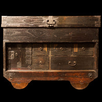 Kuruma Dansu - Large Rolling Merchant Chest Japanese Antique Furniture