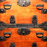 Hangai - Two Section Ships Clothing Chest Japanese Antique Furniture Iron Hardware