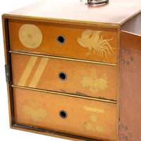 Lacquered Box with Crests Japanese Antique Storage Box