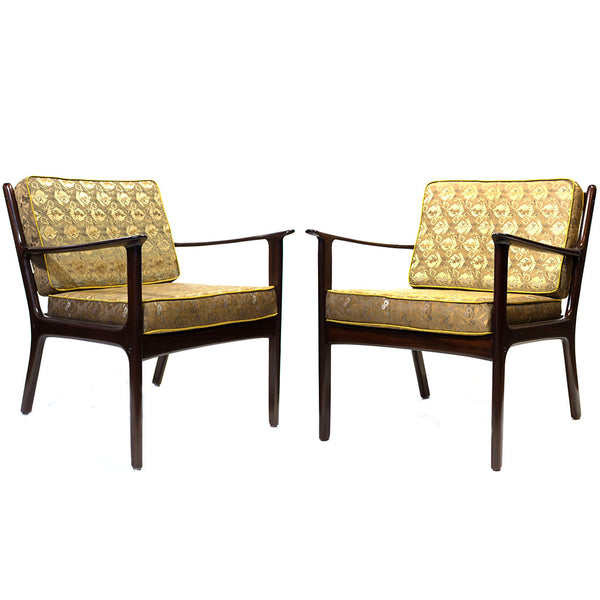 Pair of Danish Chairs Upholstered with Meiji Era Obi
