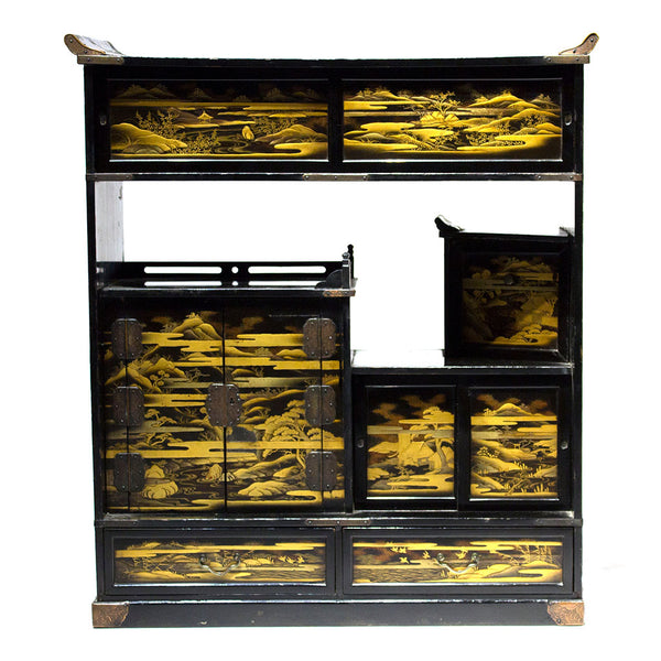 Lacquered Cha Dansu with Maki-e Landscape Japanese Antique Furniture Cabinet
