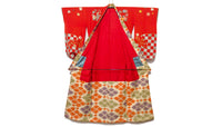 interior of bright red kimono with pattern Japanese Vintage Kimono Bold Taisho Era Red