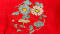 closeup of floral embroidery