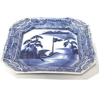19th Century Japanese Antique Ceramic Serving Plate | Blue and White | Hand Painted with Landscape | Japanese Decor
