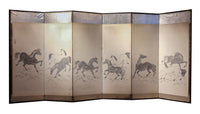 six panel screen with painted horses
