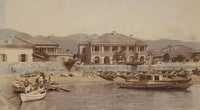 "closeup of an albumen photograph of the ""Bund of Kobe"" Japanese photography"