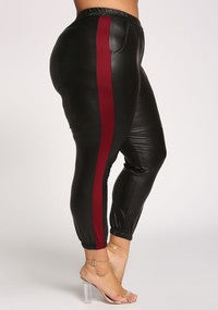Plus Size Faux Leather Joggers in Black with Red Stripe on Seam - Flyy By Nyte