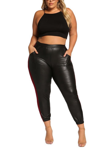 Final Sale Plus Size BLOCK Color Crop Top and Mesh Panel Leggings in Green Black Red and Yellow