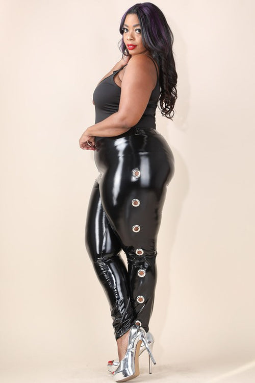 Women's Plus Size Latex Leggings in Black - Flyy By Nyte
