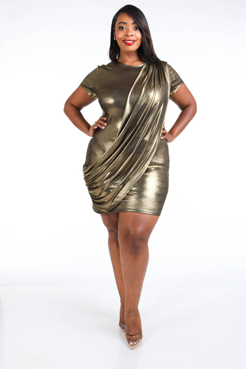 New Plus Size Metallic Draped Bodycon Dress in Gold