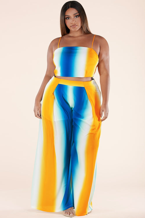 Plus Size 2-Piece Ombre Crop Top and Wide Pant Leg Set in Blue and Yellow