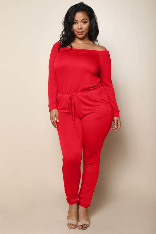 Plus Size Off Shoulder Drawsting Jumpsuit in Red