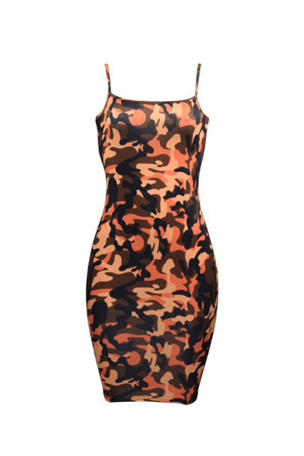 Final Sale Plus Size CAMO Spaghetti Strap Mini Dress in Orange - Flyy By Nyte