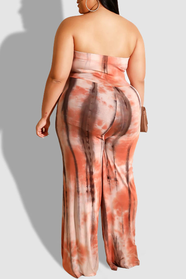 Final Sale Plus Strapless Jumpsuit with Attached Tie in Peach Tie Dye Print