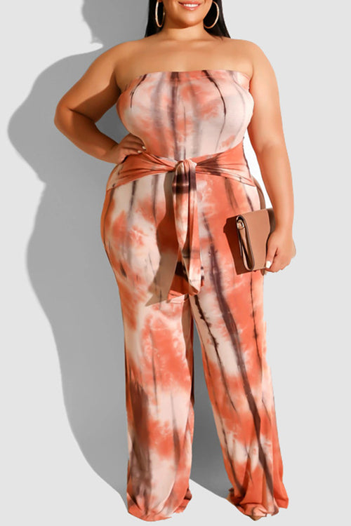 New Plus Strapless Jumpsuit with Attached Tie in Peach Tie Dye Print