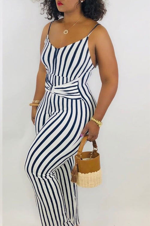 New Plus Size Spaghetti Strap Faux Wrap Jumpsuit in Navy Blue and White