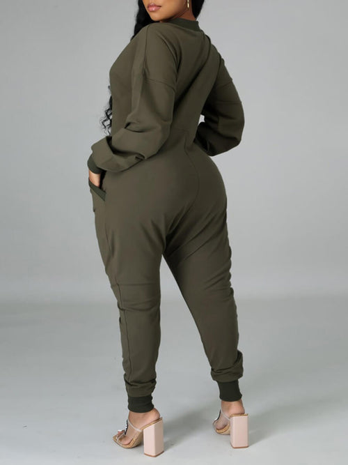 New Plus Size One-Piece Jumpsuit with Pockets in Olive Green
