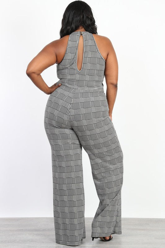Women's Plus Size Sleeveless Jumpsuit in Plaid Black and White - Flyy By Nyte