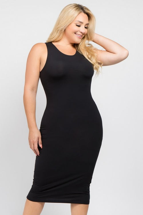 Plus Size Women's Tank Midi Dress in Black