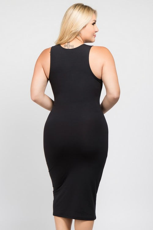 New Plus Size Bodycon Tank Midi Dress in Black