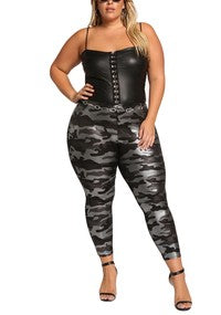 Plus Size PU Leggings with Front Zipper in Black