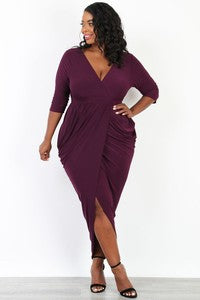 Plus Size Bodycon Mini with Asymmetrical Hem and Front Knot in Olive