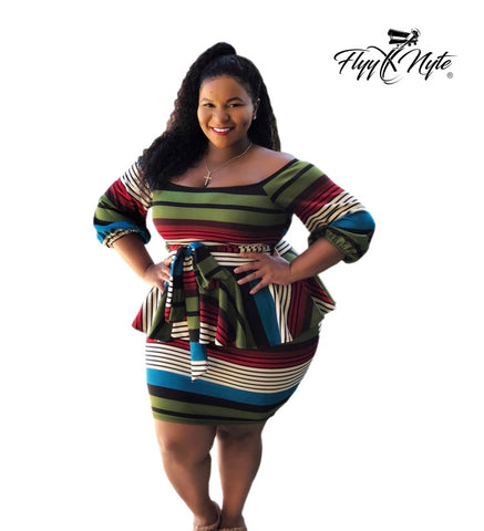 Final Sale Plus Size Bodycon Mini Dress with Asymmetrical Hem and Front Knot in Olive