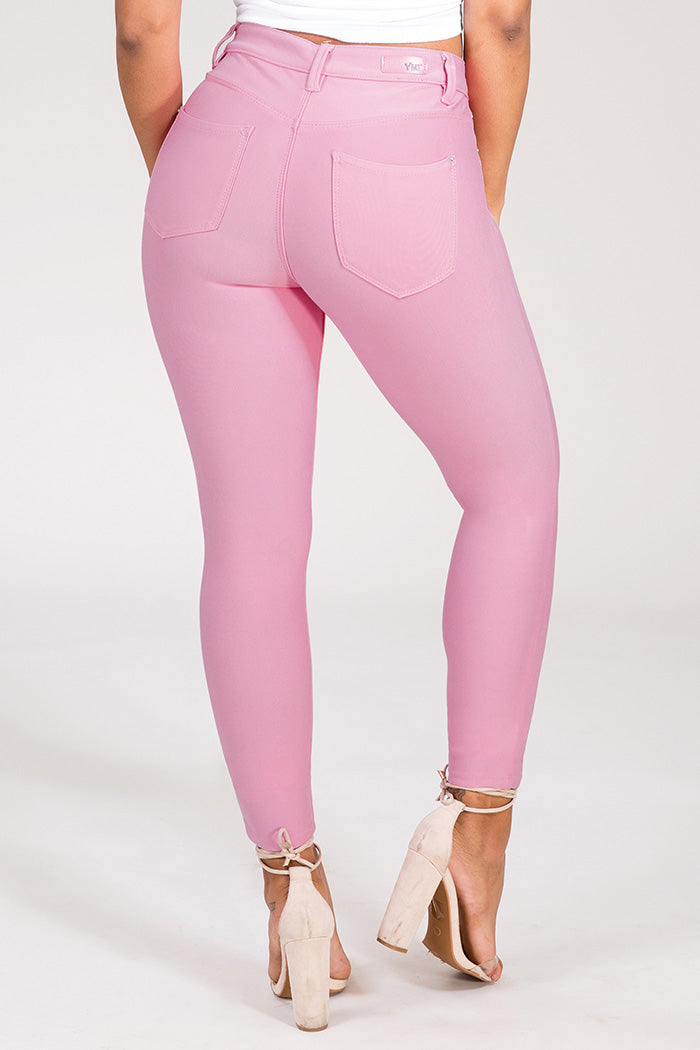 Women's Junior Size Mid-Rise Skinny Jeans in Pink - Flyy By Nyte