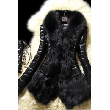 Women's Plus Size Faux Fur Long Sleeve Jacket in Black - Flyy By Nyte
