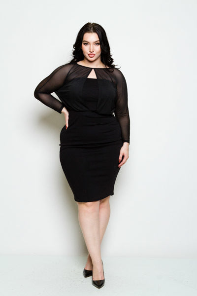 Final Sale Plus Size WE MESH Long Sleeve Bodycon Midi Dress in Black