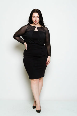 New Plus Size Bodycon Mini in Red and Cream