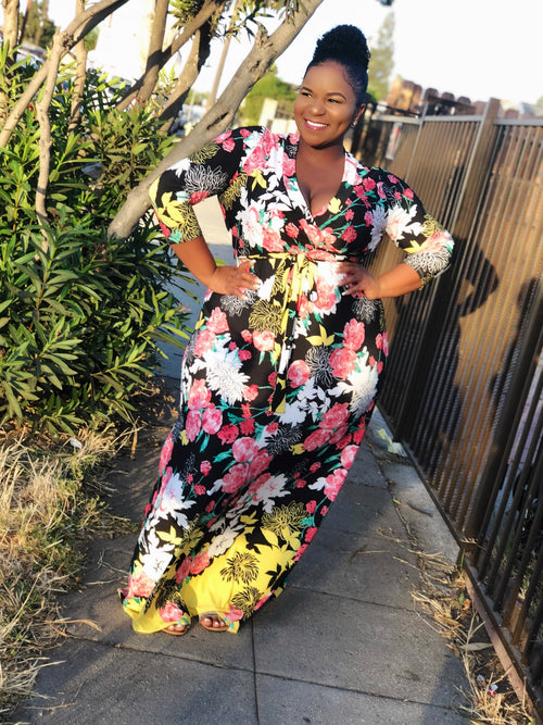 Plus Size CURVESLAYER Wrap Maxi Dress with Front Tie in Flower Print - Flyy By Nyte