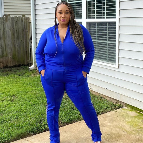 New Plus Size 2-Piece Jacket and Pants Set in Royal Blue