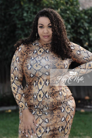 Final Sale Plus Size Long Sleeve Faux Wrap Mini Dress in Leopard Print