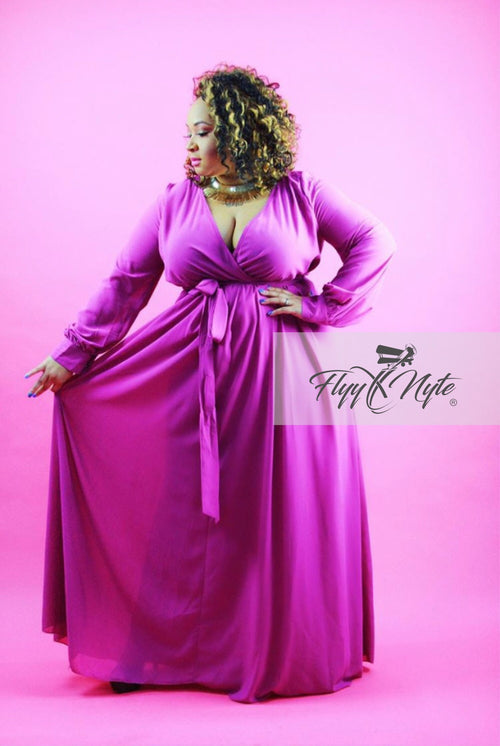 Plus Size Chiffon Wrap Maxi with Attached Tie in Violet