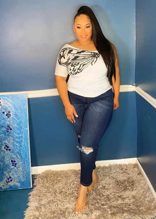 Plus Size High Rose Distressed Jeans in Dark Denim
