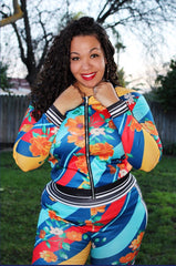 Plus Size 2-Piece Track Set in Red Yellow and Blue