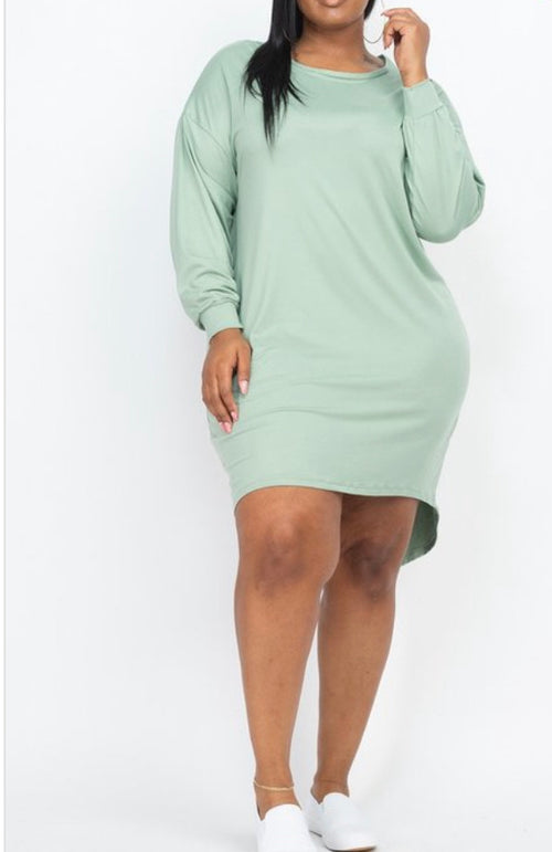 Plus Size Long Sleeve Mini Dress in Sea Green