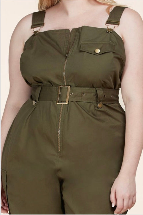 Plus Size One-Piece Jumpsuit with Pockets in Olive Green