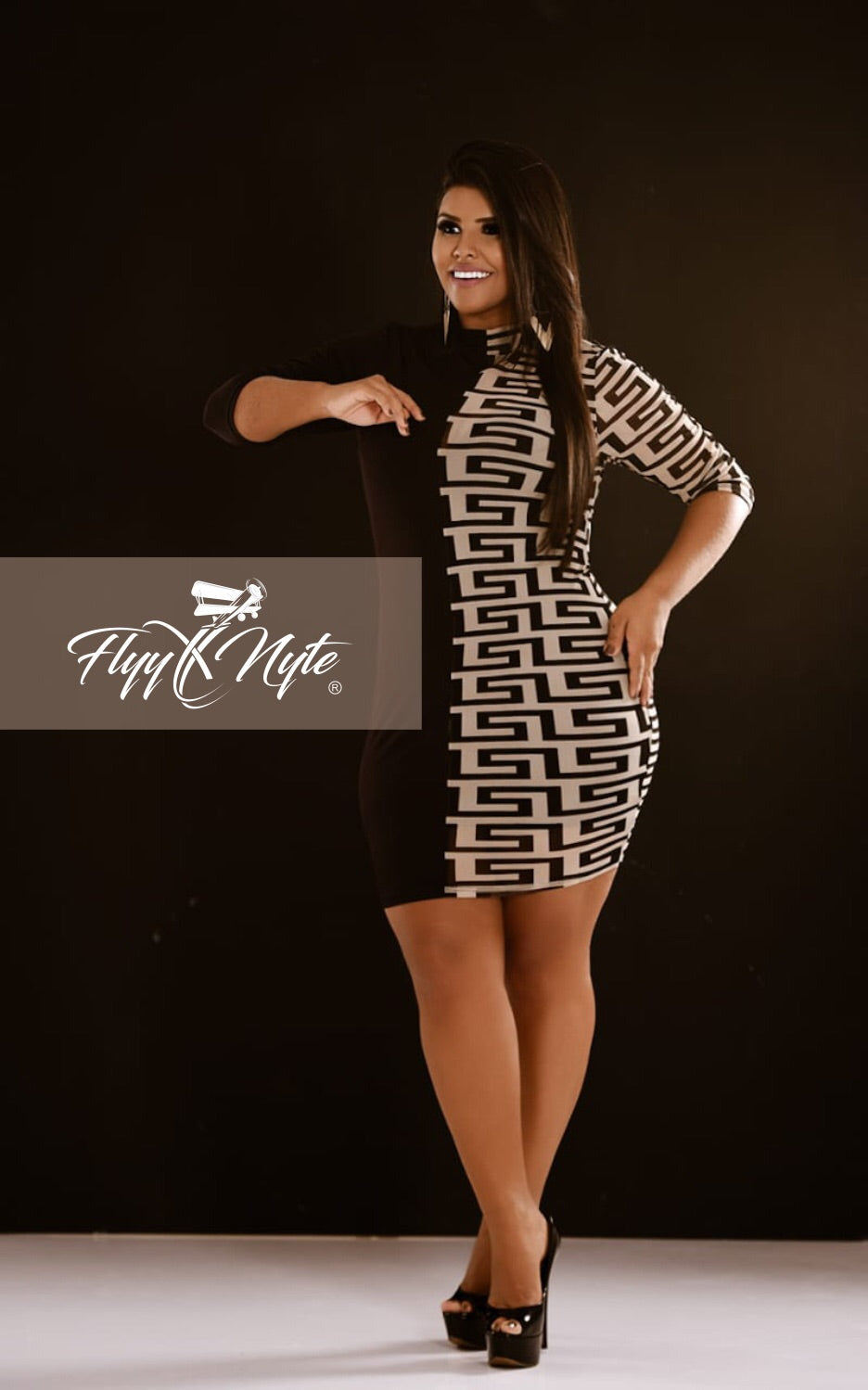 Plus Size Long Sleeve Mini Dress with Sheer Panel in Black