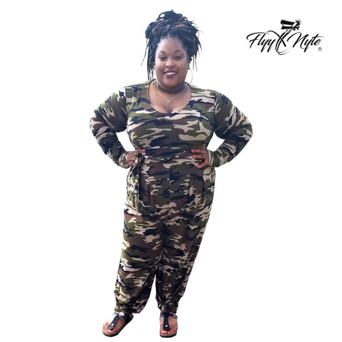 Women's Plus Size CAMO Long Sleeve Jumpsuit with Pockets - Flyy By Nyte