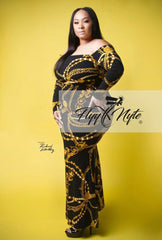 Plus Size Off Shoulder Maxi with Mermaid Bottom in Black and Gold