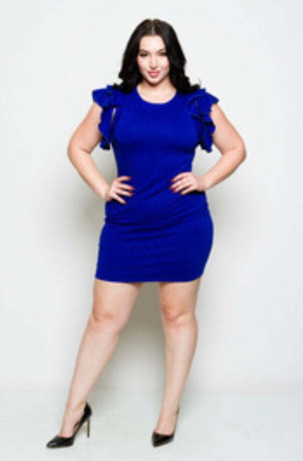 Women's Plus Size HOTTIE Mini Dress with Ruffles on Sleeves and Back Zipper in Royal Blue - Flyy By Nyte
