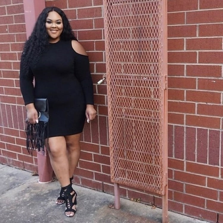 Plus Size Long Sleeve Cold Shoulder Ribbed Mini in Black