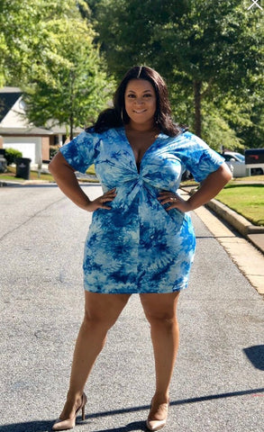 Final Sale Plus Size WORK IT Short Sleeve Knee Length Dress with Attached Tie in Navy Blue