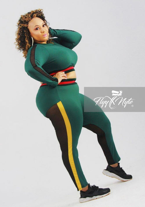 Plus Size 2-Piece Crop Top and Pants Set in Green Black & Yellow