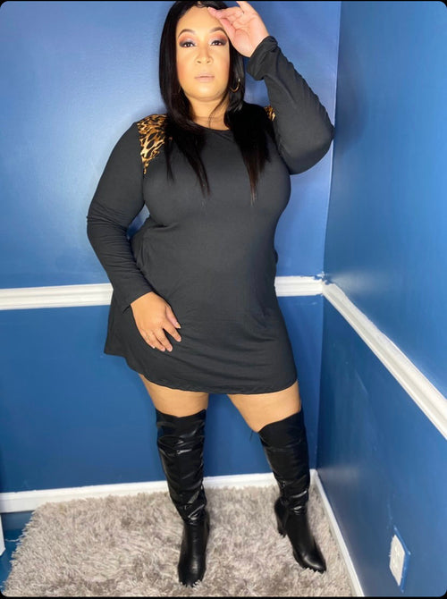 Plus Size Long Sleeve Mini Skater Dress in Black and Leopard Print Accents