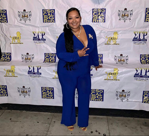 Plus Size Long Sleeve Jumpsuit with Attached Tie in Blue