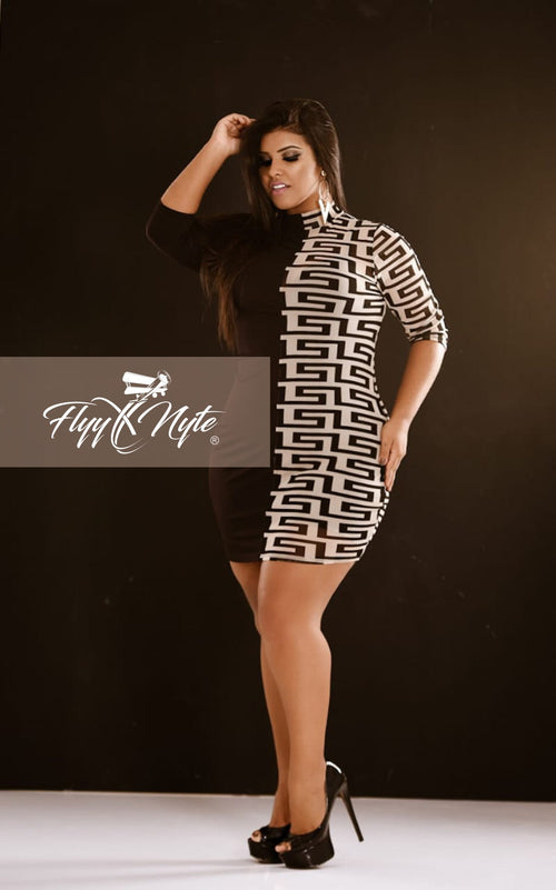 Women's Plus Size Long Sleeve Mini Dress with Sheer Panel in Black