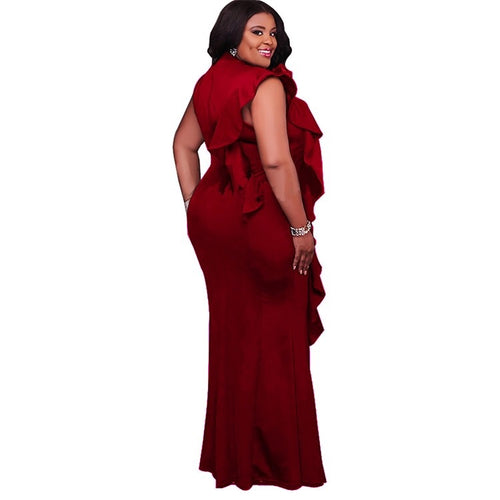 Women's Plus Size Sleeveless Maxi Dress with Side Ruffle in Burgundy
